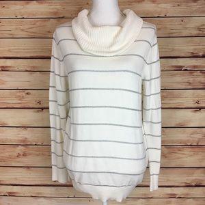 LOFT Cowl Neck Sweater Metallic Striped Large